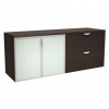 Innovations Office Furniture - modern laminate storage cabinet with frosted glass doors and lateral file drawers