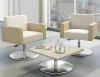 A contemporary style with hints of retro modern style. Jeo is ideal for lounge areas, conferencing, collaboration stations and guest areas. Seating has different options for bases dependent on the chair's use. Jeo tables are designed to seamlessly with the chairs.